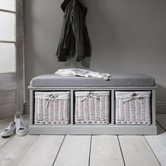 Laura James Hall / Entryway Storage Bench in Grey (Fully Assembled) - Laura James Shoe Storage Bench With Cushion, Hallway Shoe Storage Bench, Grey Storage Bench, Hallway Seating, Bench Set, Entryway Storage, Storage Baskets, Storage Spaces, Hall Bench