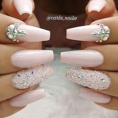 Graduation Nails Designs for nude nails; The post Graduation Nails Designs for nude nails; unique& appeared first on alss wp. Glam Nails, Nude Nails, My Nails, Coffin Nails, Pink Coffin, Gems On Nails, Long Nails, Nails With Diamonds, Bling Nail Art