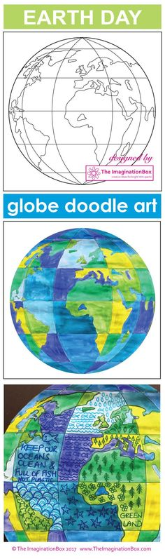 Celebrate Earth Day and bring creativity and color to your classroom with this globe doodle art and poster resource. The globe art activity has been designed in sections so that students can experiment with using shades of greens for landmass and shades o Earth Day Projects, Earth Day Crafts, Art Projects, Earth Day Activities, Art Activities, Earth Day Coloring Pages, Earth Day Posters, Cultures Du Monde, Globe Art