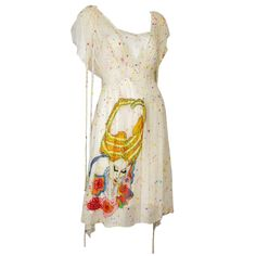 Tsumori Chisato Limited Edition Silk Chiffon Day Dress w/Fantastical Embroidery | 1stdibs.com