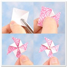 How to make pinwheels. Would be great (to make small) for a card!