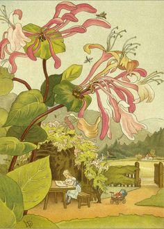 Under Blooming Flowers Gemalt von Louise Preusser und Olga zu Eulenburg  (1886)