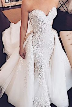 Sweetheart Mermaid Strapless Lace Appliques Wedding Dress with Detachable Train - Prom Dresses Wedding Dress Train, Fit And Flare Wedding Dress, Sweetheart Wedding Dress, Applique Wedding Dress, Lace Mermaid Wedding Dress, Mermaid Dresses, Dream Wedding Dresses, Bridal Dresses, Strapless Lace Wedding Dress