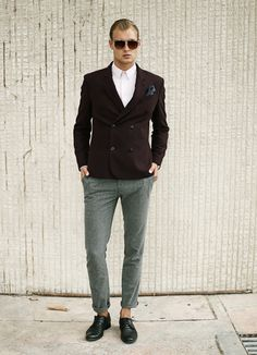 Mens grey pure wool slim fit PANTS tapered cropped cuffed Mens tailored trousers Mens dress pants Mens clothing Grey trousers Designer pants by MaplePropeller on Etsy https://www.etsy.com/listing/250552795/mens-grey-pure-wool-slim-fit-pants