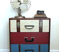 Us all dresser made to look like vintage suitcases