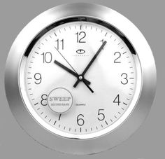 Telesonic-Silver-Quartz-Wall-Clock-w-Quiet-Sweep-Second-Hand