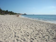 View of our beach at the Grand Bahia Principe Tulum in Riviera Maya, Mexico...