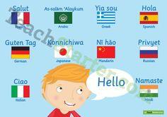 Hello Around The World Poster Teaching Resource
