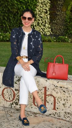 Susana Fernandez | A Key to the Armoire | white jeans | Fendi 2Jours | Stubbs & Wooton | velvet loafers | Ann Taylor | Organdi Coat | Navy blue coat | Hermes belt | jeans & t-shirt | white tee | Ralph Lauren | Worth Avenue | Palm Beach | Fendi | red sunglasses