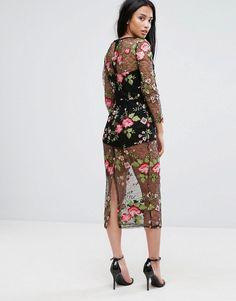 ASOS PETITE Lace Floral Mesh Bodycon Dress with Bodysuit - Multi