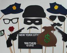 Cops & Robbers Photo Booth Prop Collection. Best Police Officer Props. Wedding Party Props. $45.00, via Etsy.