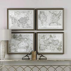 Framed World Maps (Set of Four) - Default Title