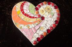 Heart Springs Mosaic Art Heart 8 x 9 Rustic by DumbLadyMosaics