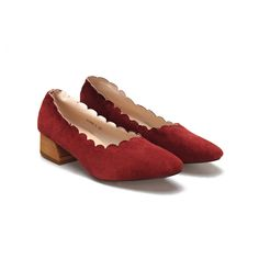 Square Toe Chunky Wool Heel Scalloped Suede Shoes - US$43.95 -YOINS