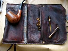 Leather Pipe & Tobacco Pouch in Hand Dyed by SorringowlandSons