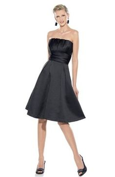 This is an A-line  Strapless Knee-length Satin Little Black Dresses. It's semi-formal and an perfect outfit for cocktail parties. Style Code: 05355 $79 Get it here: http://www.outerdress.com/a-line-strapless-knee-length-satin-little-black-dresses-pd-05355-11.html #LittleBlackDress #Ruffles #OuterDress