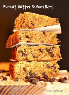 low FODMAP Quinoa and Peanut Butter Bars! Made with Ancient Harvest Quinoa flakes