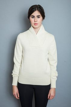 Shawl Collar Sweater - Natural - Young & Able