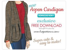 FREE Pattern Download, the Aspen Cardigan sizes 6-26