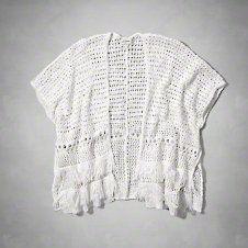 girls open stitch knit kimono