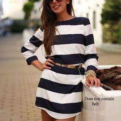 Women long Sleeves Stripe Straight Shift Dress  #girlfashion #shopaholic #girlstyle #fashionstyle #streetstyle #outfitoftheday #model #meetyoursfashion #womenstyle #streetfashion