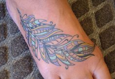 feather, paisley, foot tattoos, tattoos, 920 tattoo, color tattoos, carrie olson, wisconsin, fox valley, oshkosh