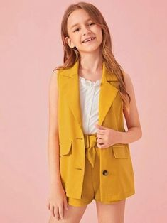 Girls Notched Collar Button Front Vest Blazer & Belted Shorts Set – Kidenhouse Source by kidenhouse sets clothes Preteen Girls Fashion, Teenage Girl Outfits, Dresses Kids Girl, Kids Outfits Girls, Cute Girl Outfits, Girls Fashion Clothes, Cute Outfits For Kids, Teen Fashion Outfits, Cute Casual Outfits