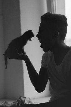 """""""Un maullido es un masaje al corazón.""""  - Stuart McMillan #gatito en mano"""