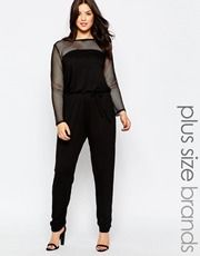 Club L Plus Size Jumpsuit With Mesh Sleeves