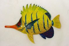 Needle Nose Tropical Fish Tiki Sea Life Wall Decor Orange and Yellow 6 Inch