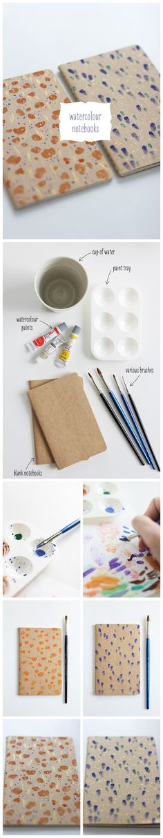 BOOK COVERS. To buy their own simple kraft paper cover of the book, and then draw on the little watercolor pattern.