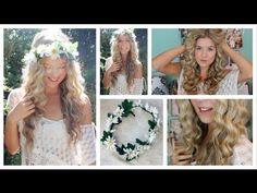 cool Taylor Swift Curly Hair Tutorial & DIY Flower Crown - YouTube - Hair tutoria...