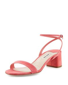Suede+45mm+Ankle-Wrap+Sandal,+Geranio+by+Miu+Miu+at+Neiman+Marcus.