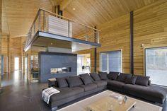 Wall-based fireplace & mezzanine floor http://www.loghomefinland.com