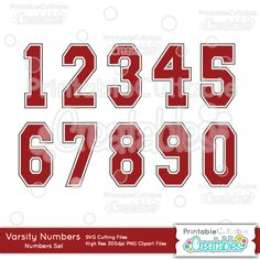 Varsity+Numbers+FREE+SVG+Cut+Files+&+Clipart+Set