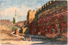 Walls of Thessaloniki by Charles Martel (1919).3 Thessaloniki, World War I, Archaeology, Retro, Painting, Walls, Art, Art Background, World War One