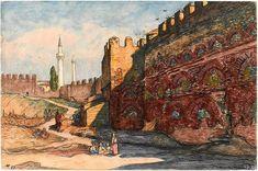 Walls of Thessaloniki by Charles Martel (1919).3 Thessaloniki, World War I, Archaeology, Retro, Painting, Walls, Art, Art Background, World War One