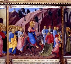 "Fr Gabriel of Saint Mary Magdalen on the triumphal entrance of Jesus into Jerusalem, from Carmelite meditation classic ""Divine Intimacy"". Fra Angelico, Bible Text, Jesus Painting, Jesus Stories, Life Of Christ, Palm Sunday, Cristiano, Catholic, Entrance"
