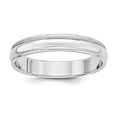 Jewelry Stores Network 4mm Milgrain Sterling Silver Wedding Band Ring