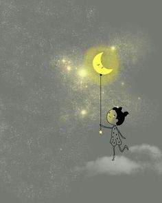 girl turning out the light illustration Art And Illustration, You Are My Moon, Sun And Stars, Moon Magic, Beautiful Moon, Moon Art, Moon Child, Cute Art, Good Night