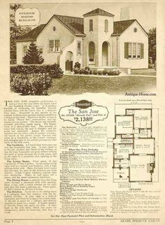 San Jose Model - California Style - Stucco - 1928 Sears Honor Bilt Home Brochure