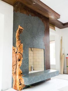 Work in progress - Stunning fireplace featuring Slate, Maple Burl and Weathered Metal - Broken Down Designs, Toronto Maple Burl, Slate, Toronto, Living Room, Metal, Design, Home Decor, Homemade Home Decor, Chalk Board
