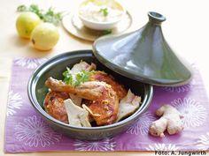 Hähnchen aus der Tajine Chicken, Meat, Food, Recipes With Chicken, Cilantro, Easy Meals, Cooking, Essen, Meals