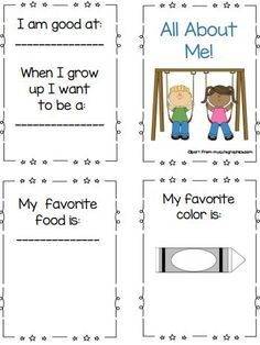 "FREE Printable All About Me Book - Great for the first week of school or during an ""All About Me"" preschool unit."
