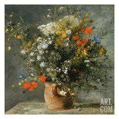 Fleurs dans un vase Art Print by Auguste Renoir at Art.com