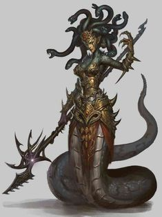 Context: The first Halfmer creatures were Dragons, the second ones were half snakes. I'm very inspired by greek myths and creatures. The story of Medusa is awfully beautiful Medusa Art, Medusa Gorgon, Dark Fantasy, Fantasy Art, Character Inspiration, Character Art, Yuan Ti, Monster Design, Creature Concept
