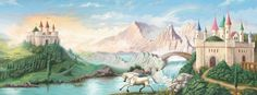 Castles with Unicorn Pre-Pasted Wallpaper Wall Mural