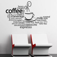 vinyl wall graphics | Coffee Latte Espresso Word Cloud - Vinyl Wall Art Decal