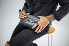 Leather Croc Pressed Clutch - now available online at aureliusdesigns.com.au Luggage Accessories, Vintage Accessories, Accessories Shop, Vintage Leather, Vintage Men, Vintage Black, Custom Luggage Tags, Leather Journal, Little Bag