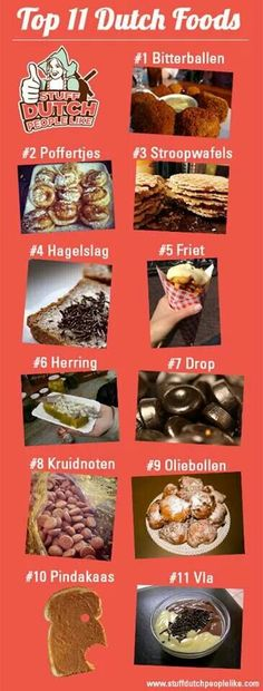 Top 11 Dutch foods in Holland. However the one that says pindakaas, peanutbutter, I'd say is pretty universal, not typically Dutch? Top 11 Dutch foods in Holland. Netherlands Food, Amsterdam Netherlands, I Amsterdam, Amsterdam Travel, Utrecht, Rotterdam, Poffertjes, Learn Dutch, Dutch People